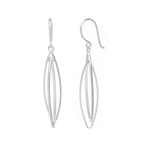 Sterling Silver Marquise-Shaped Double-Drop Earrings