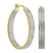 Classic Treasures™ Two-Tone Diamond-Accent Hoop Earrings