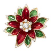 Monet® Red Crystal Poinsettia Pin