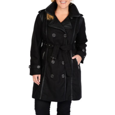 jcpenney.com | Excelled® Faux-Wool Belted Trench Coat - Plus