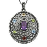 Multi-Gemstone Oxidized Sterling Silver Pendant Necklace