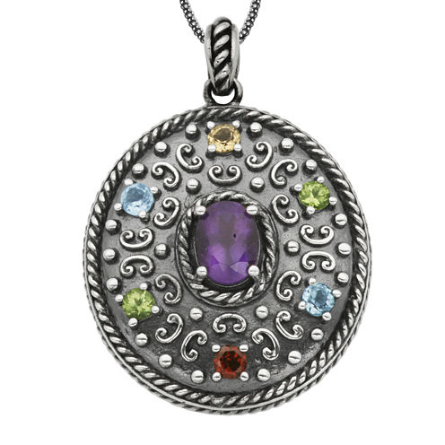Multi-Gemstone Oxidized Sterling Silver Pendant Necklace