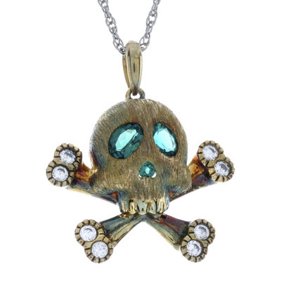 Simulated emerald and lab created white sapphire skull and simulated emerald and lab created white sapphire skull and crossbones pendant necklace aloadofball Gallery