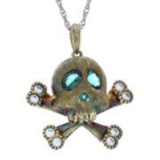 Simulated Emerald and Lab-Created White Sapphire Skull and Crossbones Pendant Necklace