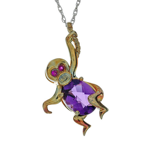 Lab-Created Amethyst and Ruby Monkey Pendant Necklace