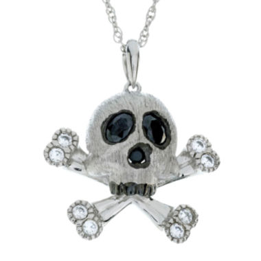 jcpenney.com | Genuine Onyx and Lab-Created White Sapphire Skull and Crossbones Sterling Silver Pendant Necklace