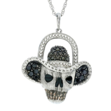 jcpenney.com | Genuine Black Spinal Skull and Hat Sterling Silver Pendant Necklace