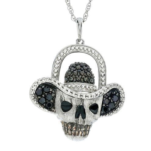 Genuine Black Spinel Skull and Hat Sterling Silver Pendant Necklace