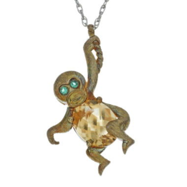 jcpenney.com | Lab-Created Citrine and Simulated Emerald Monkey Pendant Necklace