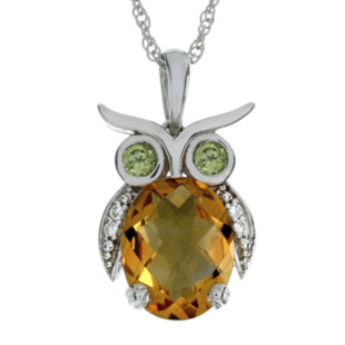 jcpenney.com | Lab-Created Citrine and Simulated Peridot Owl Sterling Silver Pendant Necklace
