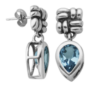 jcpenney.com | Genuine Sky Blue Topaz Oxidized Sterling Silver Drop Earrings