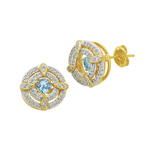 18K Gold Over Silver Genuine Blue Topaz and Lab-Created White Sapphire Earrings