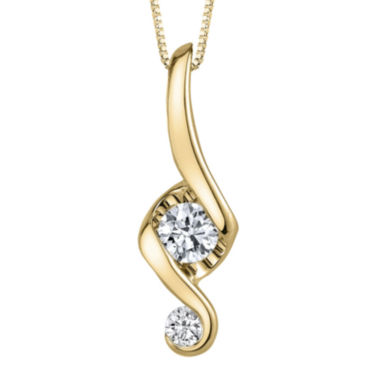 jcpenney.com | Juno Lucina® 1/5 CT. T.W. Diamond 14K Yellow Gold Swirl Pendant Necklace