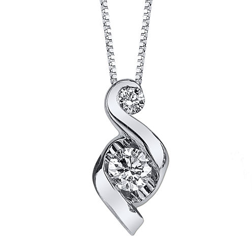 Juno Lucina® 1/3 CT. T.W. Diamond 14K White Gold Swirl Pendant Necklace