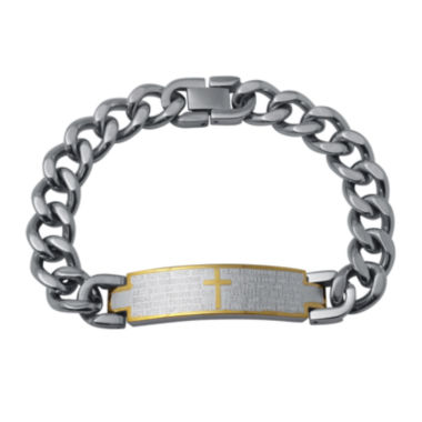 jcpenney.com | Mens Two-Tone Stainless Steel Lord's Prayer Bracelet