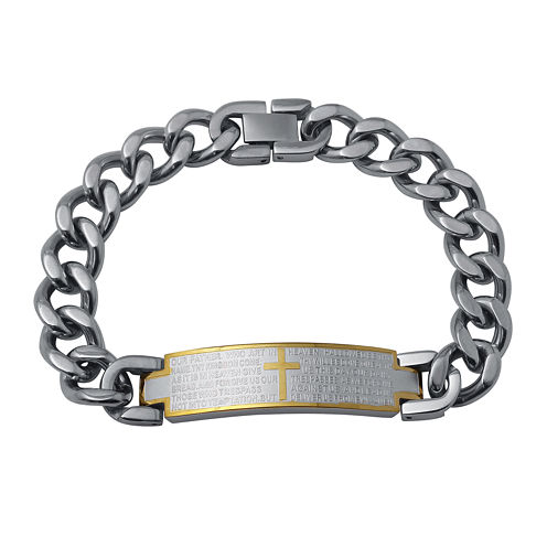 Mens Two-Tone Stainless Steel Lord's Prayer Bracelet