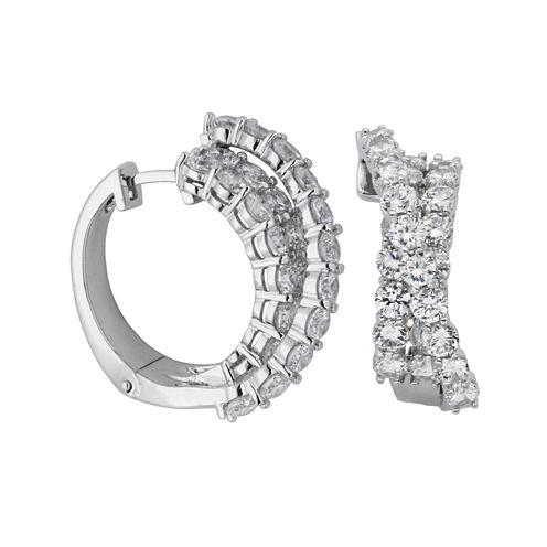 DiamonArt® Cubic Zirconia Sterling Silver Crisscross Hoop Earrings
