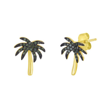 jcpenney.com | 1/6 CT. T.W. Color-Enhanced Green Diamond Palm Tree Earrings
