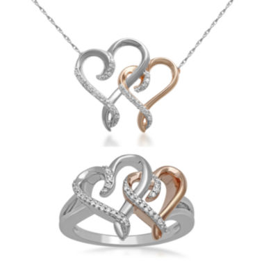 jcpenney.com | Hallmark Diamonds Heart Pendant or Sterling Silver Ring with 14K Rose Gold Accent