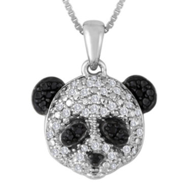 jcpenney.com | 1/10 CT. T.W. White and Color-Enhanced Black Diamond Sterling Silver Panda Pendant Necklace