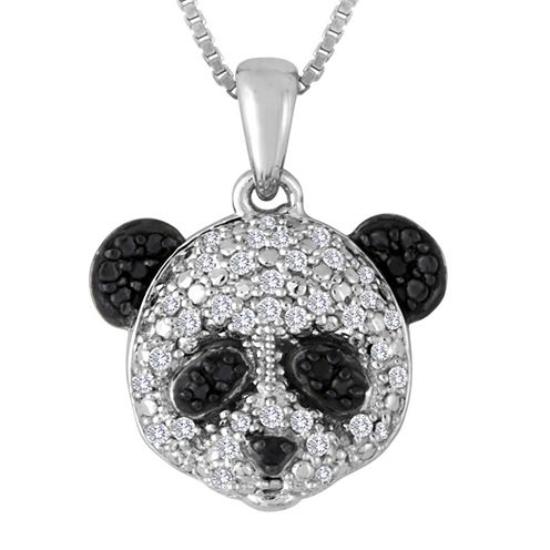 1/10 CT. T.W. White and Color-Enhanced Black Diamond Sterling Silver Panda Pendant Necklace