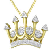 1/10 CT. T.W. Diamond Crown Pendant Necklace