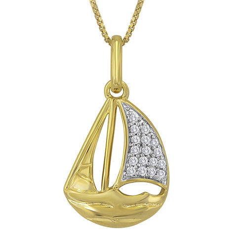 1/10 CT. T.W. Diamond 14K Yellow Gold Over Sterling Silver Sailboat Pendant Necklace