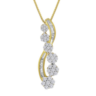 jcpenney.com | diamond blossom 1/2 CT. T.W. Diamond 14K Yellow Gold Over Sterling Silver Journey Swirl Pendant Necklace