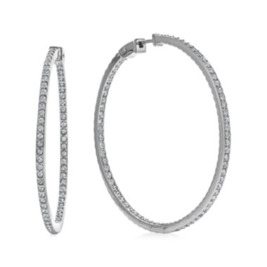 jcpenney.com | Diamond Glamour™ Diamond- and Crystal-Accent Sterling Silver Inside-Out 45mm Hoop Earrings