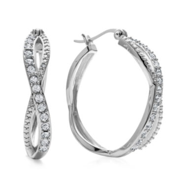 jcpenney.com | Diamond Glamour™ Diamond- and Crystal-Accent Sterling Silver 28mm Infinity Hoop Earrings