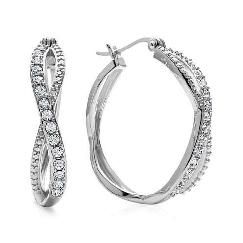 Diamond Glamour™ Diamond- and Crystal-Accent Sterling Silver 28mm Infinity Hoop Earrings
