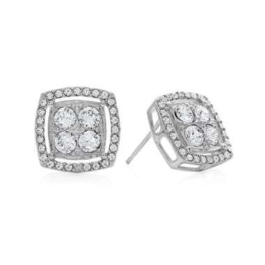 jcpenney.com | Diamond Glamour™ Diamond- and Crystal-Accent Sterling Silver Square Halo Stud Earrings