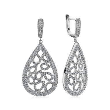 jcpenney.com | Diamond Glamour™ Diamond- and Crystal-Accent Sterling Silver Pear-Shaped Drop Earrings