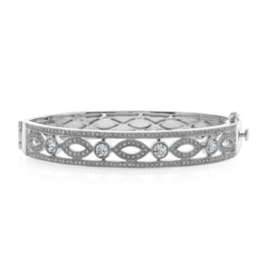 jcpenney.com | Diamond Glamour™ Diamond- and Crystal-Accent Sterling Silver Filigree Bangle Bracelet