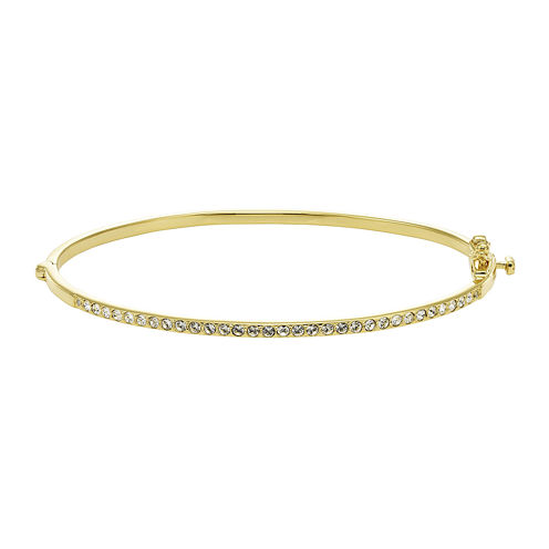 Diamond Glamour™ Diamond- and Crystal-Accent 14K Yellow Gold Over Silver Stackable Bangle Bracelet