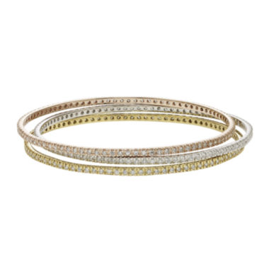 jcpenney.com | Diamond Glamour™ Diamond- and Crystal-Accent 3-pc. Stackable Bangle Bracelet Set