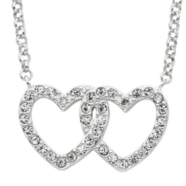jcpenney.com | Diamond Glamour™ Diamond- and Crystal-Accent Sterling Silver Openwork Double-Heart Necklace