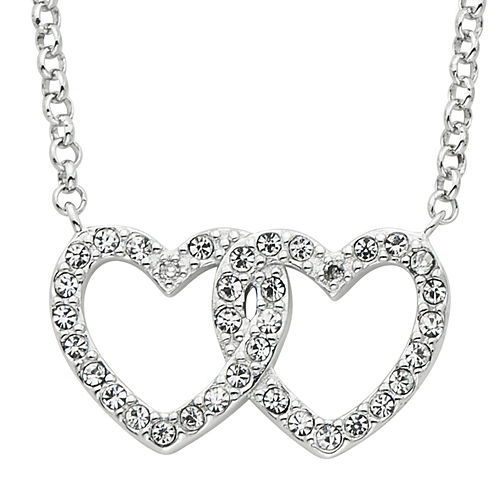 Diamond Glamour™ Diamond- and Crystal-Accent Sterling Silver Openwork Double-Heart Necklace