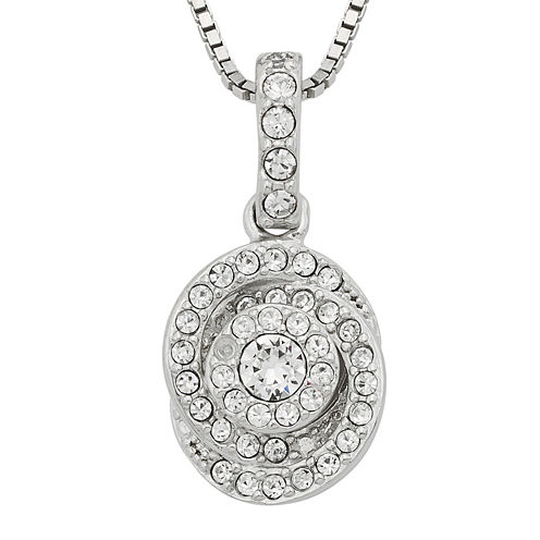 Diamond Glamour™ Diamond- and Crystal-Accent Sterling Silver Swirl Pendant Necklace