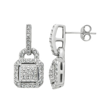 jcpenney.com | Diamond Glamour™ Diamond- and Crystal-Accent Sterling Silver Square Halo Drop Earrings