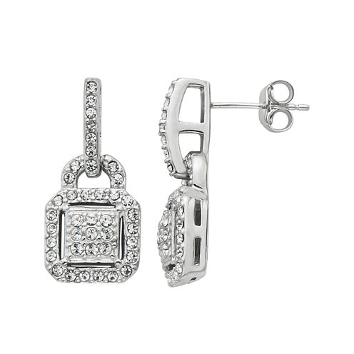 Diamond Glamour™ Diamond- and Crystal-Accent Sterling Silver Square Halo Drop Earrings