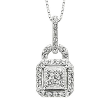 jcpenney.com | Diamond Glamour™ Diamond- and Crystal-Accent Sterling Silver Square Halo Pendant Necklace