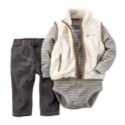 Carter's® Bodysuit, Sherpa Vest and Jeans - Baby Boys newborn-24m