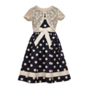 Bonnie Jean® Polka Dot Lace Cardigan Dress - Girls 7-16