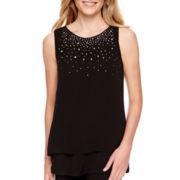 Worthington® Sleeveless Embellished Double Layer Top