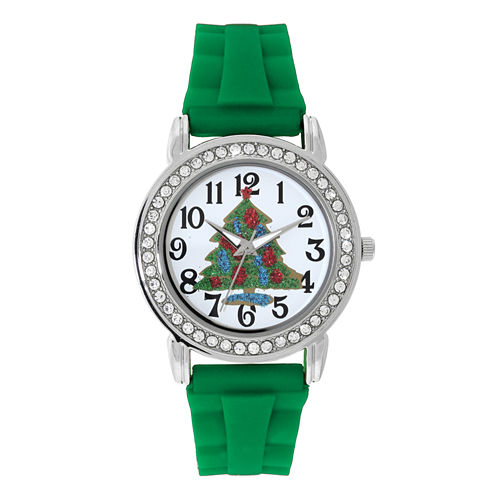 Mixit™ Womens Green Christmas Tree Watch