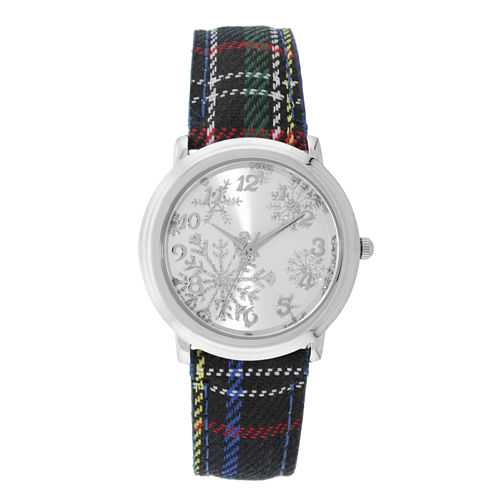 Mixit™ Womens Snowflake Plaid Watch