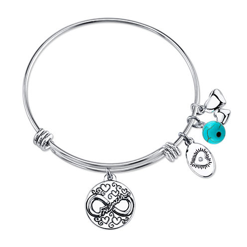 Footnotes Womens Green Turquoise Silver Over Brass Bangle Bracelet