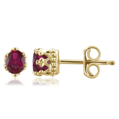 jcpenney.com | Oval Red Ruby Gold Over Silver Stud Earrings