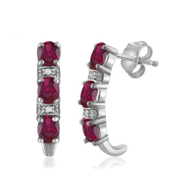 jcpenney.com | Diamond Accent Red Ruby Sterling Silver Drop Earrings